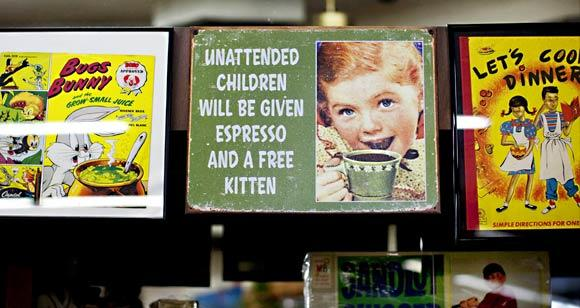 Vintage signs enhance the sense of nostalgia at Tiffany's.