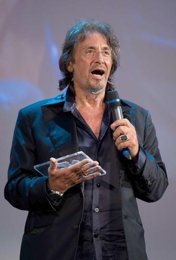 Al Pacino holds the Glory to the Filmmaker award, which he received during a ceremony at the Palazzo del Cinema.
