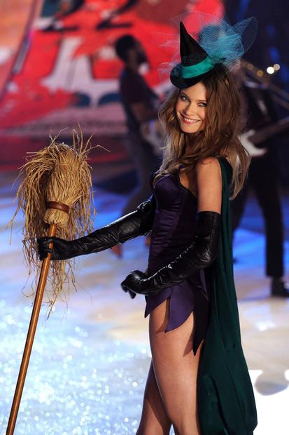 Victoria's Secret model Behati Prinsloo in a Halloween-themed ensemble.
