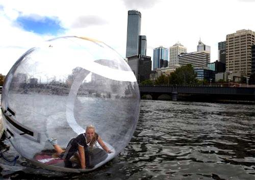 <b>Zorbing</b><br> <br> <i>At the January Australian Open in Melbourne, German tennis player Sabine Lisicki went zorbing on the Yarra River.</i>