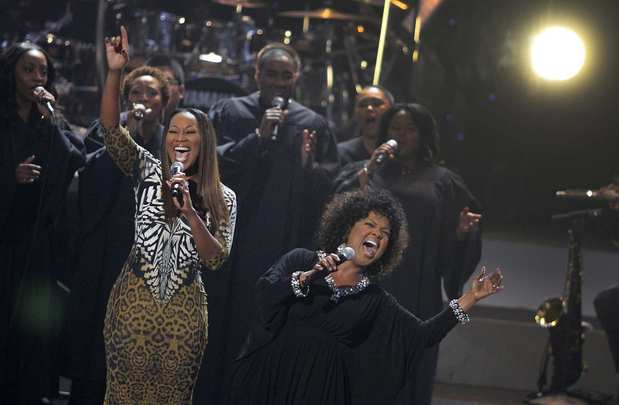 "Yolanda Adams, left, and Cece Winans sing ""Count on Me."""