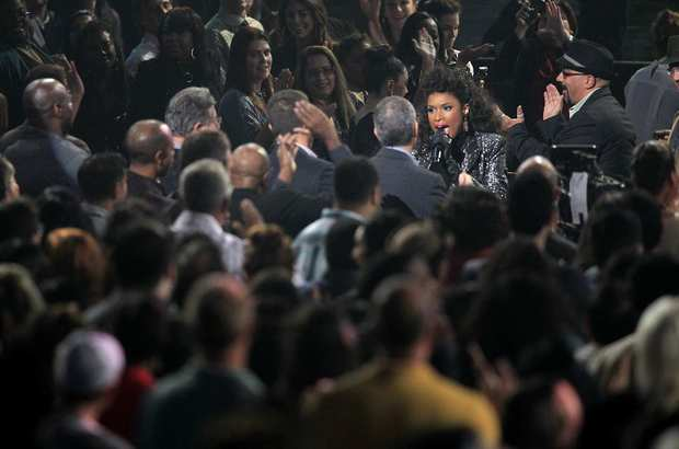 "Jennifer Hudson dances in the audience during taping of the tribute to the late Whitney Houston. Hudson also sang Houston's hit ""I Will Always Love You"" at the 2012 Grammys in commemoration of the artist who died a day before the awards ceremony. She was 48."