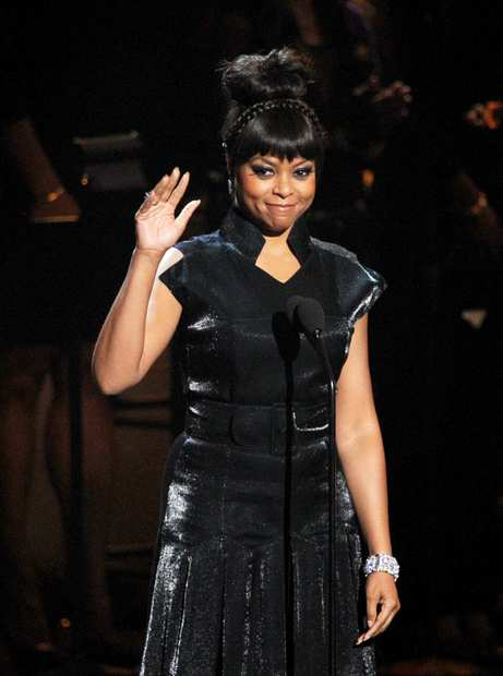"""Person of Interest"" actress Taraji P. Henson speaks onstage."