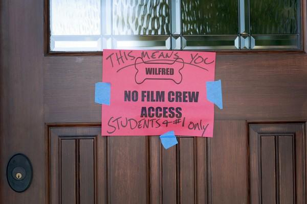 "A clear sign is posted on the set of the new FX Network show ""Wilfred."""