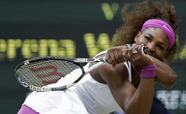 Serena Williams tracks down a backhand return against Agnieszka Radwanska in the Wimbledon women's final on Saturday.