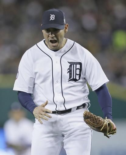 Tigers starter Anibal Sanchez lets out a yell after striking out Giants first baseman Brandon Belt to end the top of the sixth inning of Game 3 on Saturday night in Detroit.