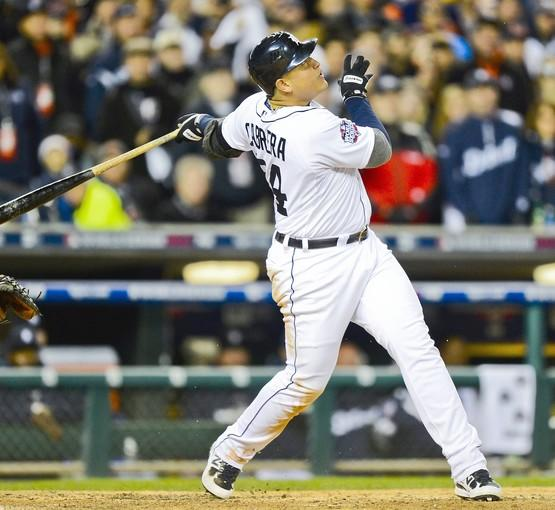 Tigers third baseman Miguel Cabrera pops up with the bases loaded to end the fifth inning of Game 3 of the World Series on Saturday night at Comerica Park.