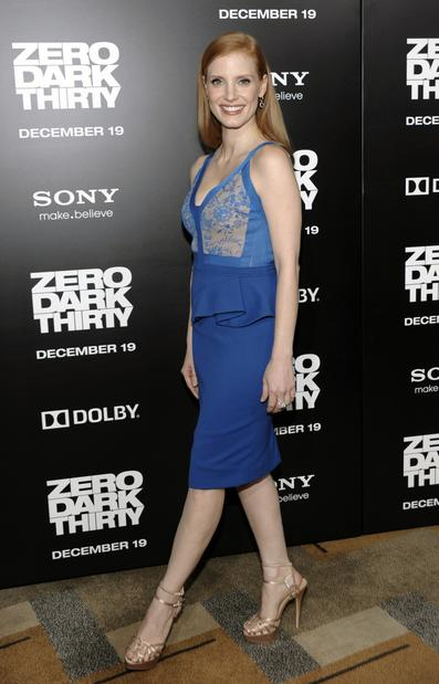 "Jessica Chastain, who plays Maya in ""Zero Dark Thirty,"" arrives at the film's Los Angeles premiere held at the Dolby Theatre."