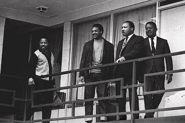 From left, Hosea L. Williams, the Rev. Jesse Jackson, the Rev. Martin Luther King Jr. and Ralph Abernathy in 1968 on the balcony of the Lorraine Motel in Memphis, Tenn., the day before King was shot and killed at about the same place.