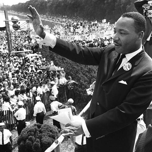 "The Rev. Martin Luther King Jr. with marchers at the Lincoln Memorial in 1963. The March on Washington was a watershed moment in history. But, as NPR <a href=""http://www.npr.org/news/specials/march40th/part1.html""></a>notes, ""the outward appearance of unity masked divisions over the march by top civil rights groups. Young black militants predicted it would be nothing but a picnic at the Lincoln Memorial; older black leaders thought it might end in violence. On the night before the march, the speaker system was sabotaged. Meanwhile, the Kennedy White House and the Congress opposed it too, fearing riots."""