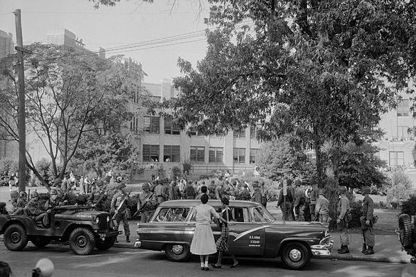 Among major events in civil rights history was the Little Rock Crisis.  Nine African American students were kept out of racially segregated Central High School in Little Rock by Arkansas National Guard troops.  Mobs threatened to lynch the children. It wasn't until President Eisenhower intervened and federal troops were called in that the so-called Little Rock Nine were able to attend the school.