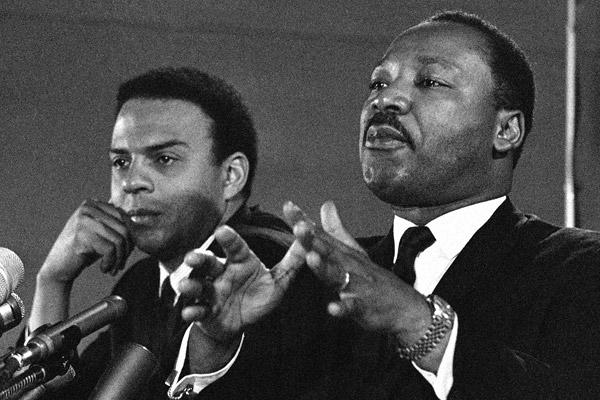Martin Luther King Jr. with the Rev. Andrew Young. Young, who was named executive vice president of the Southern Christian Leadership Conference in 1968, was a chief ally and friend to King, taking a major role in the campaigns in Birmingham, Ala.; St. Augustine, Fla.; Selma, Ala.; and Atlanta.  Young was with King in Memphis when King was killed in 1968.