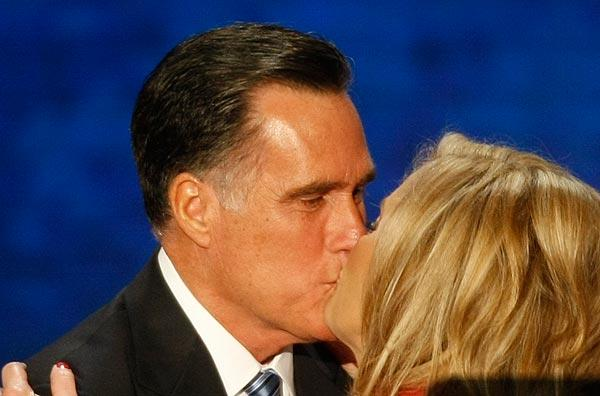 Mitt and Ann Romney kiss onstage at the Republican National Convention.