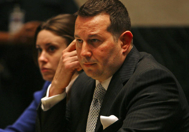 Attorney Jose Baez, right and his client Casey Anthony listen to court proceedings, Monday at the Orange County Courthouse in Orlando, Fla. Attorneys for Anthony, the Florida mother charged with killing her 2-year-old daughter Caylee Marie, have violated a court order to turn over information about expert witnesses who will testify on her behalf, a judge ruled Monday.