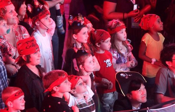 "Young guests watch the ""Mickey's Pirates in the Caribbean"" show, on the official christening cruise of the Disney Dream, from Port Canaveral, Fla., to Castaway Cay, Bahamas, Thursday, Jan. 20, 2011."