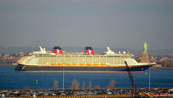 The new Disney Cruise Line ship the Disney Fantasy pulls into New York Harbor on Tuesday morning, Feb. 28, 2012.