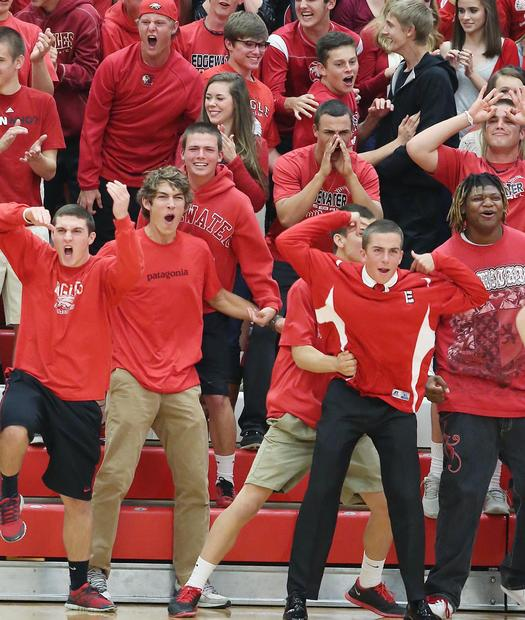 Edgewater High fans cheer during the Boone High at Edgewater High School boys basketball game on Thursday, January 31, 2013.