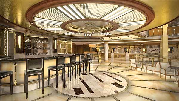 "This brand new Italian-inspired cocktail venue is a perfect place to enjoy the lively atmosphere of the atrium¿s activities, while indulging in a Bellini-inspired drink. Passengers will also enjoy views of the Piazza below in this ""floating"" space."