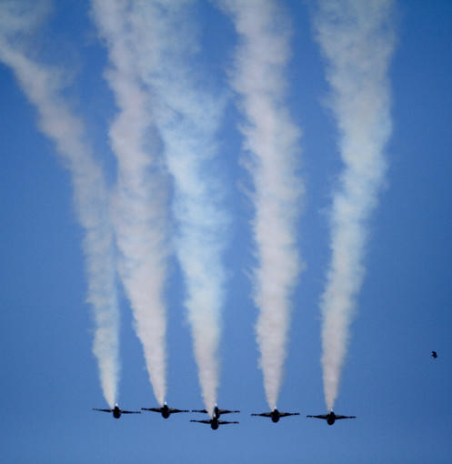 The U.S. Air Force Thunderbirds fly over Daytona International Speedway for the start of the Daytona 500 in Daytona Beach, Fla. Sunday, February 20, 2011.