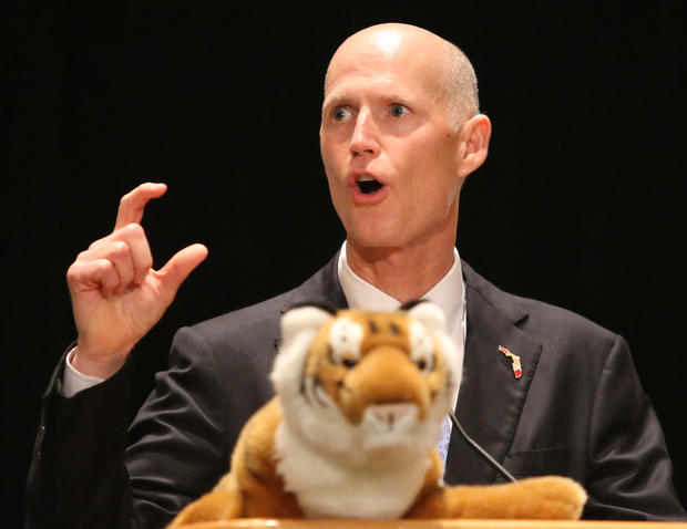 Gov. Rick Scott delivers remarks during his visit to the Tiger Bay Club of Orlando luncheon, in Orlando, Friday, February 8, 2013.