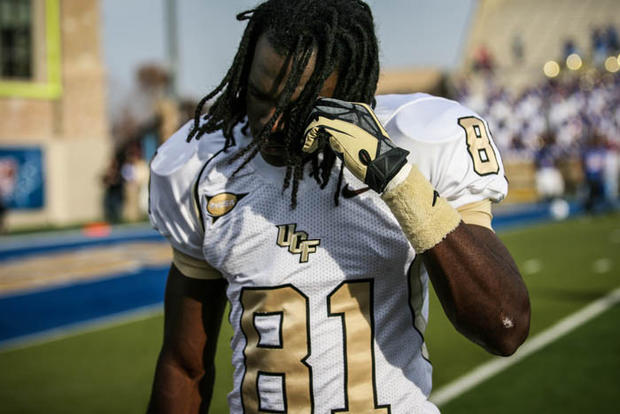 UCF's Breshad Perriman (81) reacts as he leaves the field after their 33-27 overtime loss to the University of Tulsa in the 2012 C-USA title game at the H.A. Chapman Stadium on Saturday, December 01, 2012 in Tulsa, OK.
