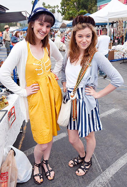 "On the left, Jillian Lawson, 21, of Calabasas, says her style is ""vintage inspired, whimsical."" She's wearing a dress from Anthropologie and a hat she bought at the flea market.<br> <br> ""I always add different flares like studs,"" says Chelsea Brown, 21, also of Calabasa. ""But today I'm a little more preppy, though I do have studs on my sandals."" She's wearing a skirt and gladiator sandals from Urban Outfitters, and a tank top and sweater from Anthropologie."