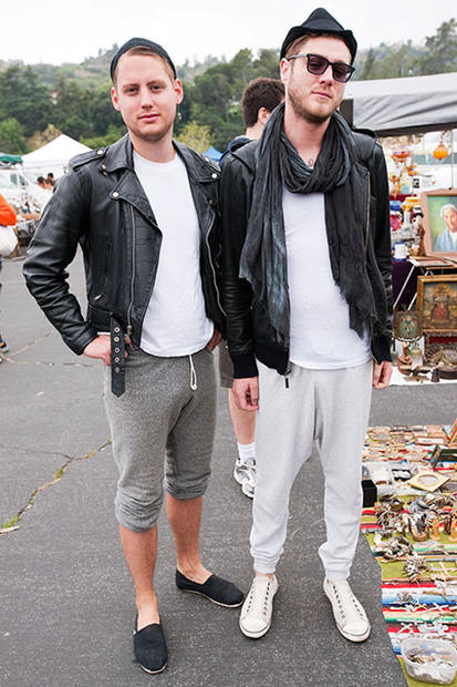"""Comfortable and dark"" is how Bo Metz, 29, left, of downtown L.A., describes his fashion sense. He's wearing ""vintage and sweatpants.""<br> <br> Jeremy Friend, on right, also of downtown, conquers."