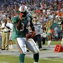Miami Dolphins' running back Ricky Williams celebrates