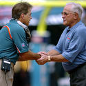 Nick Saban gets a good luck handshake from Don Shula