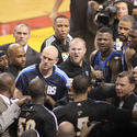 Dallas Mavericks vs. Miami Heat Game 6: Heat players confront Mavericks players on the court in the second quarter of Game 6 of the NBA Finals.