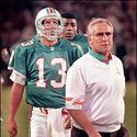 Dan Marino, Bryan Cox and Don Shula during a game at Pro Player Stadium.