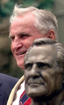 Don Shula with his bust during enshrinee ceremonies at the Pro Football Hall of Fame.