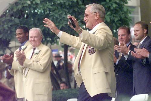 Don Shula waves to the crowd at the Pro Football Hall of Fame.