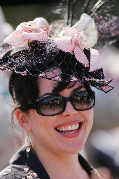 Loreta Corsetti wears her derby hat in the paddock during the 132nd Kentucky Derby at Churchill Downs in Louisville, Kentucky. (Photo by Jamie Squire/Getty Images)