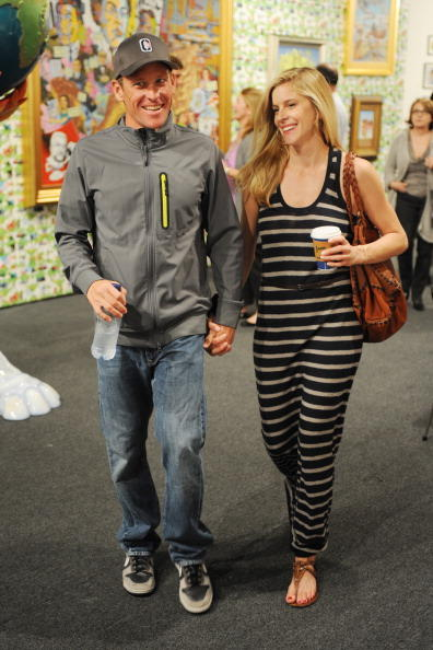 Lance Armstrong and Anna Hansen are sighted at Art Basel Miami Beach at the Miami Beach Convention Center on December 1, 2010 in Miami Beach, Florida.