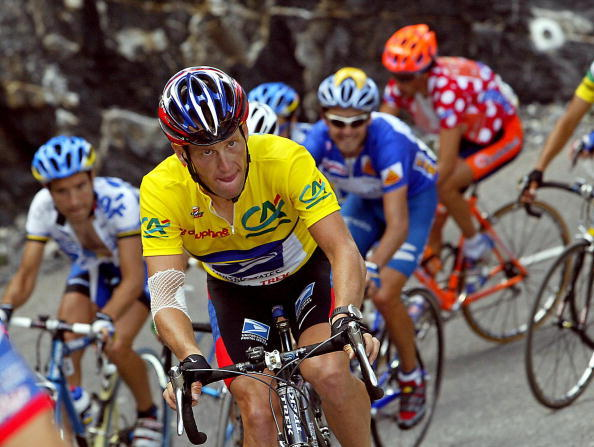 Lance Armstrong rides in Briancon, during the sixth stage of the Dauphine Libere race on June 16, 2003.
