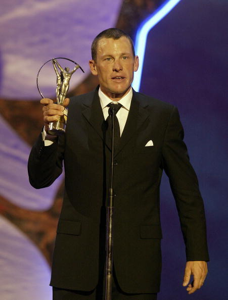 Lance Armstrong receives his award for World Sportsman of the Year on May 20, 2003 during the Laureus World Sports Awards held at the Grimaldi Forum in Monaco.