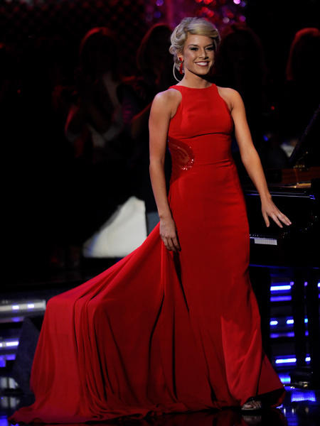 Teresa Scanlan, Miss Nebraska, plays piano in the talent competition during the 2011 Miss America Pageant at the Planet Hollywood Resort & Casino January 15, 2011 in Las Vegas, Nevada. Scanlan went on to be crowned the new Miss America.