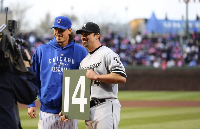 583d4409571 The Cubs Jeff Samardzija poses for a photograph beside the White Soxs Paul  Konerko as ...