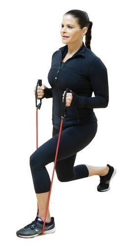Standing with one foot in front of the other, place your resistance band under your front foot, and reach the other foot back into a lunge position. Bend your elbows with your hands facing each other as they hold the resistance band. As you lunge, lower both knees so the front leg forms a 90-degree angle. Push back up to the starting position; alternate with your other leg.<br /><br />  Tip: The knee of your front leg shouldn't go over your toes when you lunge. Keep your abdominal muscles engaged and your hands in a stationary position.<br /><br />  Muscles used: Glutes and quads