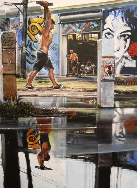 "Alfred Phillips' ""Urban Development"" depicts weightlifters in the alley behind his F.A.T. Village studio."