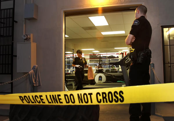 Burbank police investigate the scene were 16-year-old Raul Alvarez Jr. died after sparring Thursday, July 26.