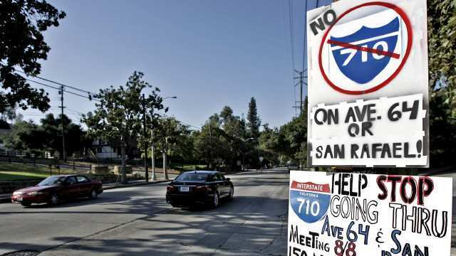 Critics protest plans for the 710 Freeway extension.
