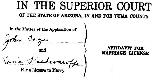 Caption: Marriage license between John Cage and Xenia Andreyevna Kashevaroff June 7, 1935 in Yuma, Arizona. (John Cage Trust)