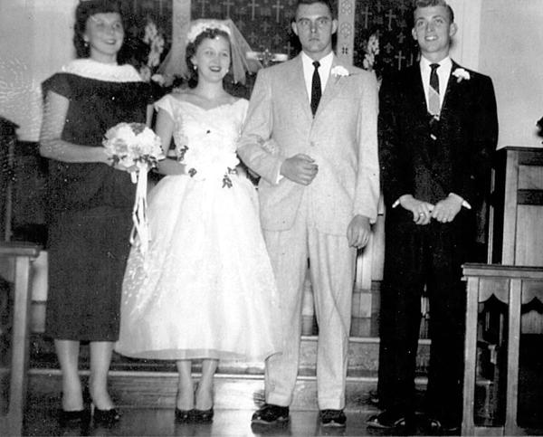 Jean Douty and Donald Oberholzer were married March 8, 1957 at St. Paul's Lutheran Church in Funkstown. Pictured, from left, are Phyllis Kretzer, Jean, Donald and Harold Kretzer.