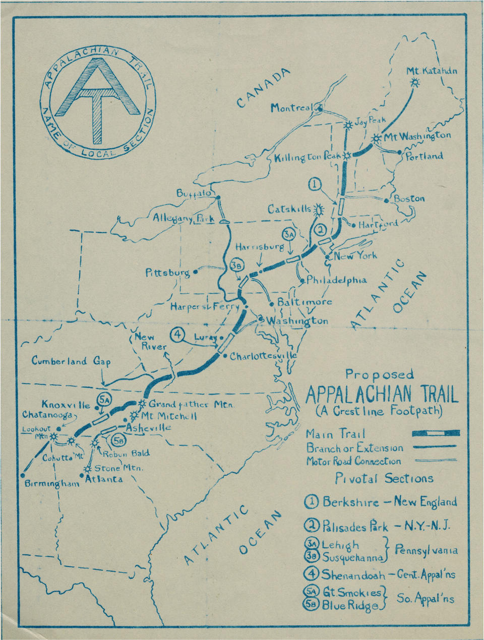Proposed Appalachian Trail Route In 1925