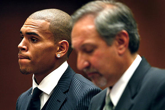 Chris Brown, in court with Geragos, will also have to take a domestic violence course.