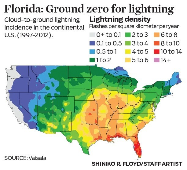 Map Shows The Density Of Lightning Strikes In The Continental U S