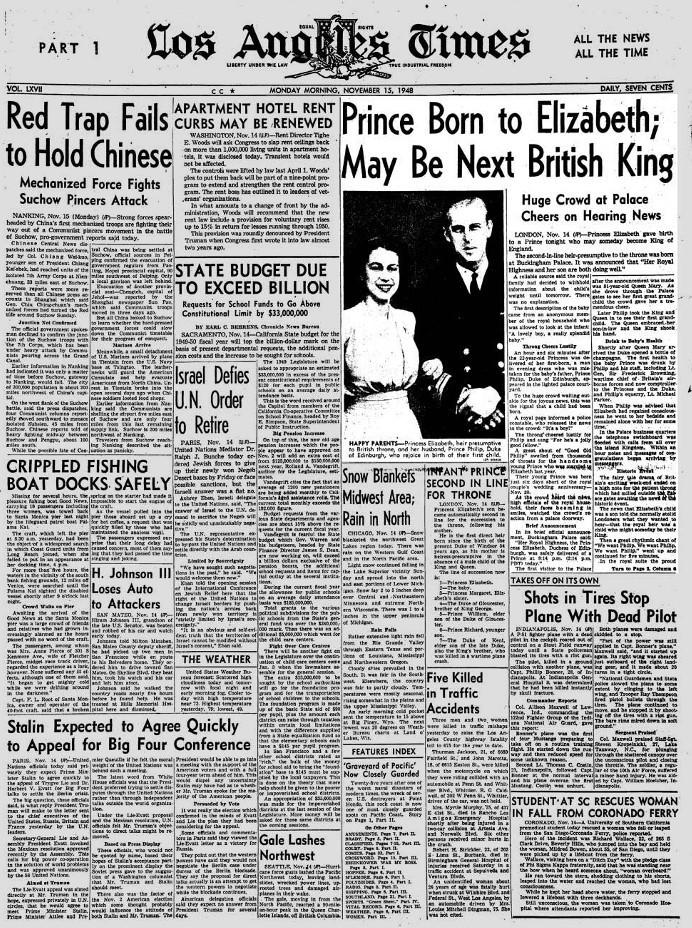 L.A. Times front page on Nov. 15, 1948