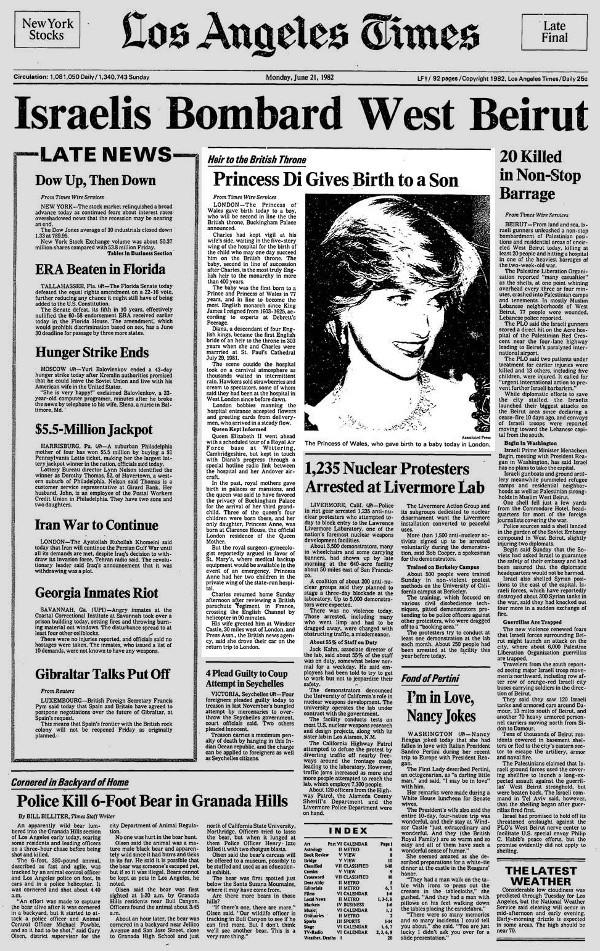 L,A. Times front page on June. 21, 1982